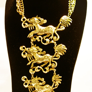 Vintage Triple Qilin Breastplate - Costume Jewelry