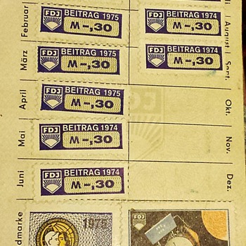East German DDR Free German Youth membership book with dues stamps. - Stamps
