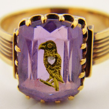 Antique Victorian Amethyst Diamond Mourning 15k Ring Eagle Bird - Fine Jewelry