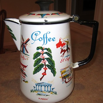 Rare Berggren Coffee Pot Coffee in many Languages Design No. 112 - Kitchen