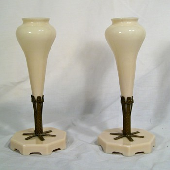 Pair of Tuscan Pink Glass Epergnes or Mantel Vases - Art Glass