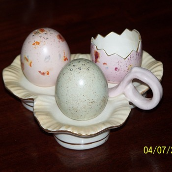 Wiltshaw and Robinson Blushware Registered 1891 Egg Set.  - Victorian Era