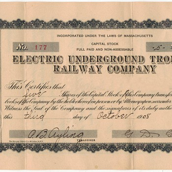 1908 - Electric Railway Company Stock - Paper