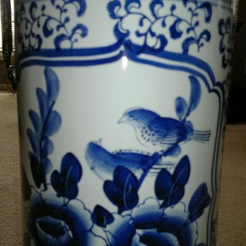 Chinese  Blue & White Landscape with Birds  Brush Pot - Asian