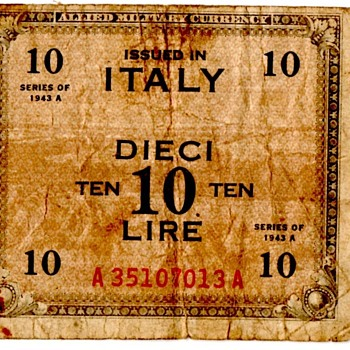 WWI Allied Occupation Currency for Italy - Military and Wartime