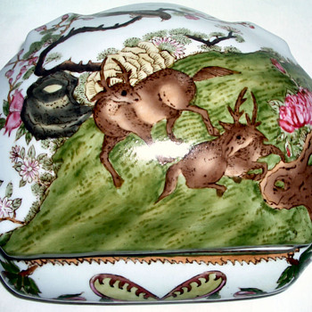 Porcelain Domed Box/Tureen Decorated in Enamel Glaze - 2 Monkeys on Mark
