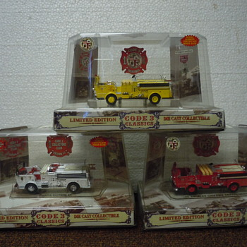 Emergency vehicles I collect-This Code 3 Crown fire trucks is one of over 3000 vehicles in my collection in Glendale, CA.