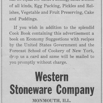1921 - Western Stoneware Advertisement