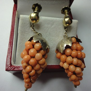Coral bunches of grapes screw back earrings