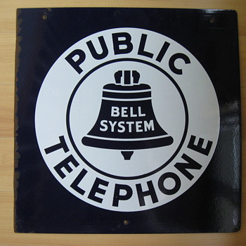 Bell System Public Phone 18&quot; Porcelain sign - Signs