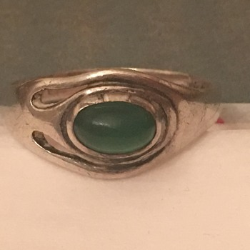 Antique Fahrner Jugendstil Sterling Chrysoprase Ring - Fine Jewelry