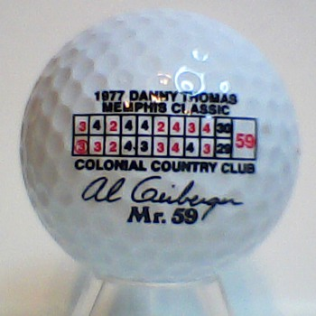 The Rare Al Geiberger Mr. 59 Score Card Signature Golf Ball circa 1994