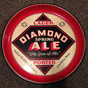 Diamond Spring Ale Beer Tray Lawrence Mass. - Advertising