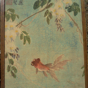 Signed Antique Antique Koi Fish Fabric Hand Painting