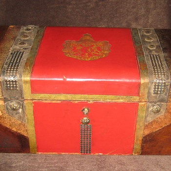 Antique Italian Made Leather Covered Jewelry Box