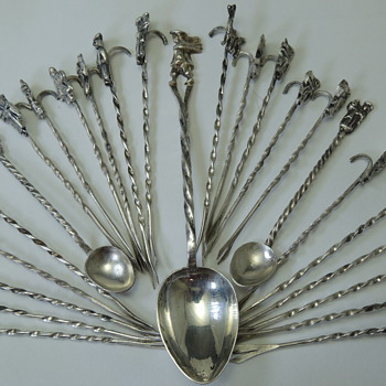 Hors devours Spoon & Pick Set - High Purity Mexican Silver - Sterling Silver