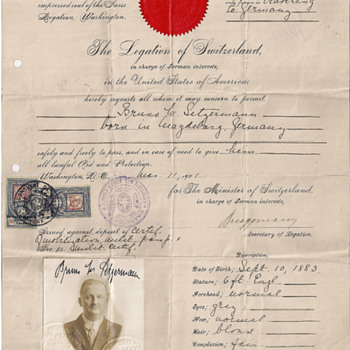 WWI Swiss protection passport for a German national