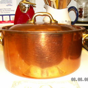 "Mauviel Copper 8 Quart Sauce Pot/Dutch Oven & Lid 9.5"" X 4.5"" ~Bronze Handles - Kitchen"