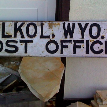 Ghost Town Post Office Sign: Elkol, WY.