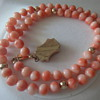 VINTAGE PACIFIC PINK ANGEL SKIN CORAL BEAD NECKLACE ANTIQUE 14K GOLD CLASP