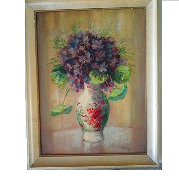 "Martin Rettig (1869-1956) ""Violets"" Oil On Artist's Board 18"" x 14"" Framed /Circa 1920's-30's - Fine Art"