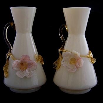 Stevens Williams Applied Milk Glass Vase Set - Art Glass