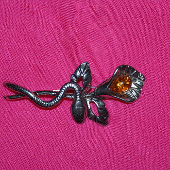 Snake and Flower Costume Pin
