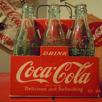 c. 1950 Coca-Cola Six Bottle Cardboard Carrier w/Wire Handle
