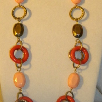 Vintage Unknown Plastic Circle Necklaces - Costume Jewelry