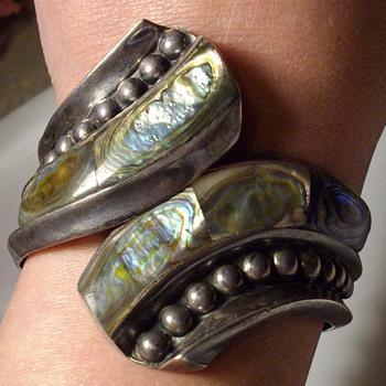 Sterling Taxco clamper bracelet.