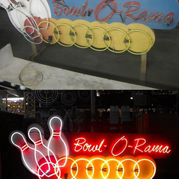Vintage 1970's BOWL O' RAMA Antique ANIMATED Neon Sign / bowling balls MOVE !
