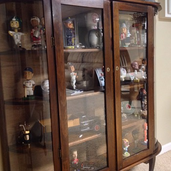Curved Glass Curio Display Cabinet - Furniture