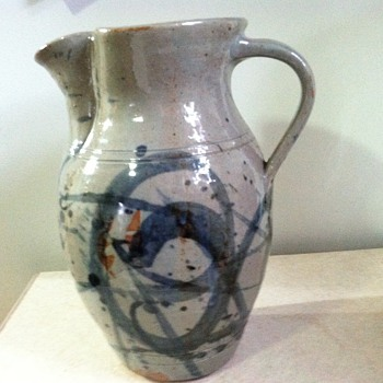 Unmarked salt glazed pitcher - Art Pottery