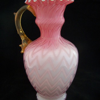 Mt. Washington Glass 1890s Herringbone Thorn Handled Vase - Glassware