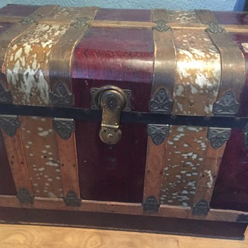 Red and gold metal trunk