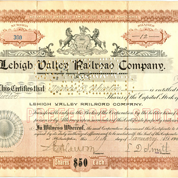 Early Lehigh Valley Railroad Stock Certificate - Railroadiana