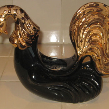Black Rooster Planter 24K gold  - Art Pottery