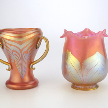 Loetz Phänomen Genre Shade and Vase..not twins but cousins?