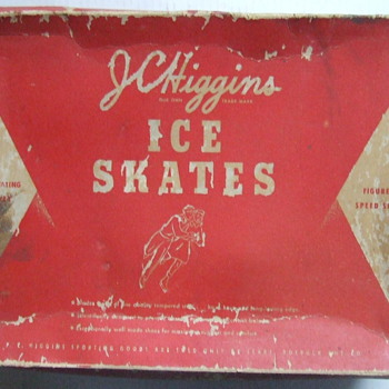 mid 1950's J. C. Higgins ice skates with original box & blade protectors - Sporting Goods