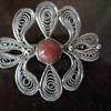 Silver Filigree Pin with Coral