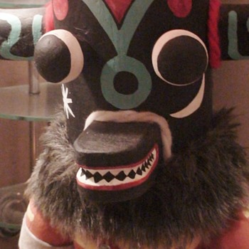 Vintage Black Ogre (Natask) Kachina Doll Lamp from Ortega Galleries Arizona - Dolls