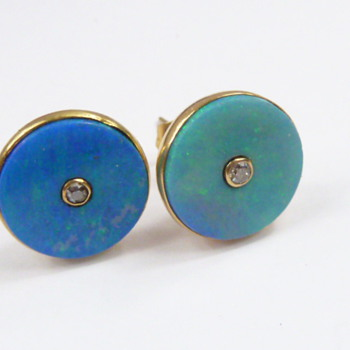 nice opal earrings/studs with diamonds