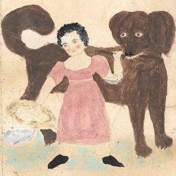 19th Century Folk Art Drawing of a Child and Dog - Visual Art