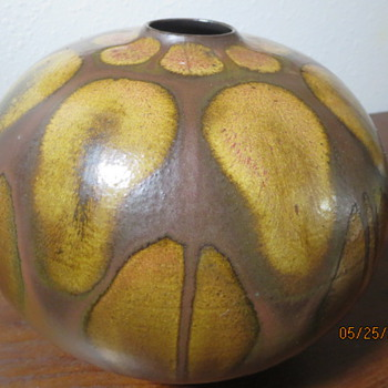 UNSOLVED MYSTERY Metal ? Copper ? Ceramic ? Vase--signed but can not read signature - Art Pottery