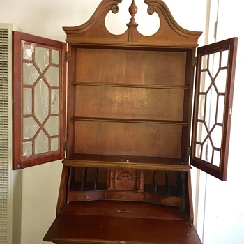 Vintage Mahongany Display Cabinet Secretary Desk, ca 1900