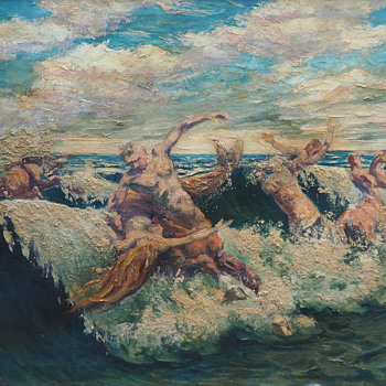 """Centaurs and Mermaids"" Oil Painting by Vladimir Lazarev (1904-1988) - Visual Art"