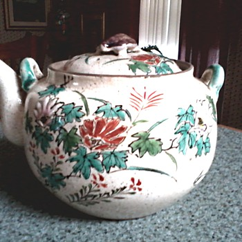 Delicate Little Chinese-Japanese Teapot / Hand Painted Floral Design with Turtle Finial/ Unknown Age and Maker