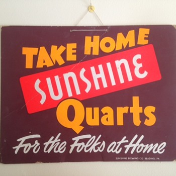 Sunshine Beer Quarts Sign - Breweriana