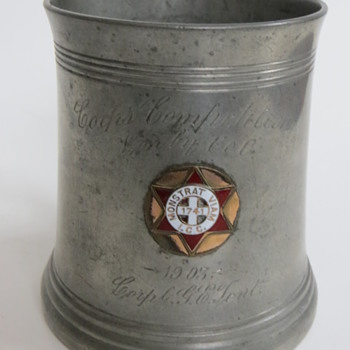 1903 Pewter Trophy~MA 1st Corps if Cadets~Corporal G. E. Tent?~ - Military and Wartime