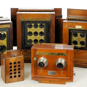 Early Multiple Lens Wood & Brass Field Cameras